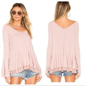 Free People Ribbed We The Free Mauve Tangerine Tee